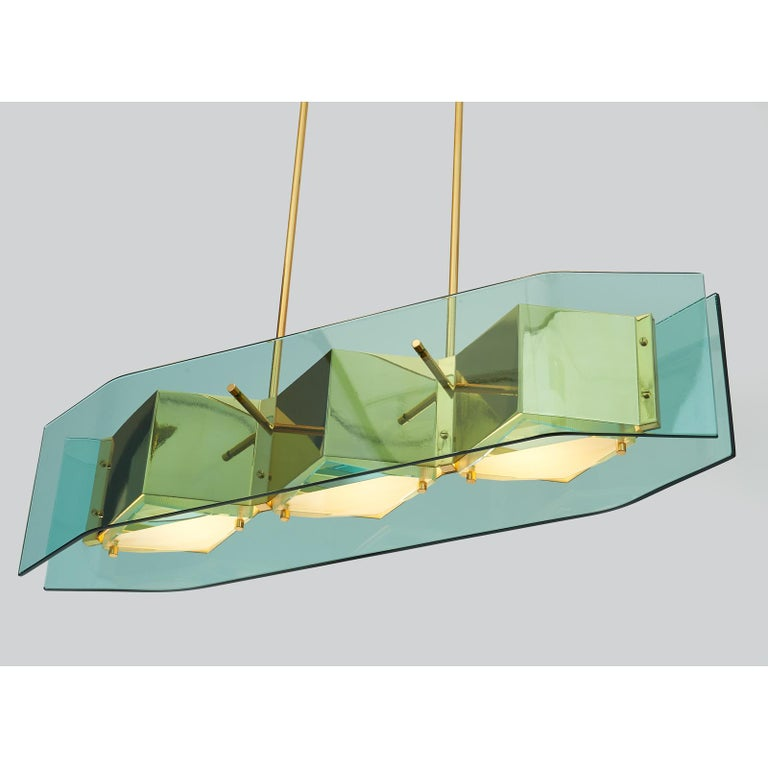 Mid-Century Modern Stilnovo Chandelier with Diamond Cut Faceted Glass Lenses, Italy, circa 1960 For Sale