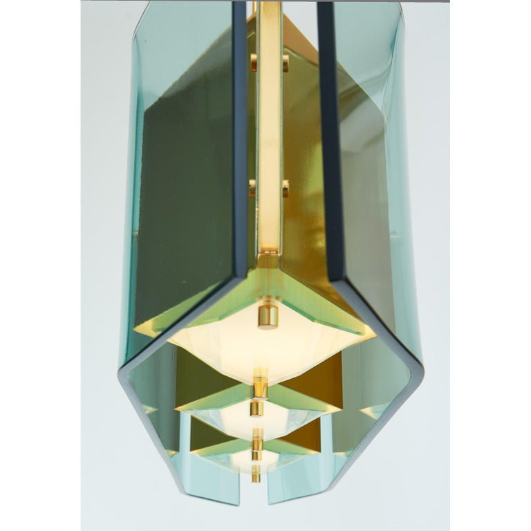 Italian Stilnovo Chandelier with Diamond Cut Faceted Glass Lenses, Italy, circa 1960 For Sale