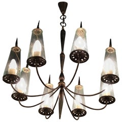 Couple Chandlers Brass Glass 8 lights, Italy, attributed to Stilnovo circa 1948