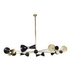 Stilnovo Diabolo Style Black and Gold Chandelier