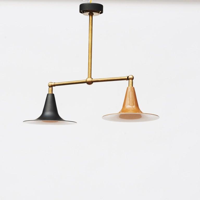 Italian Stilnovo Double Pendant Lamp For Sale