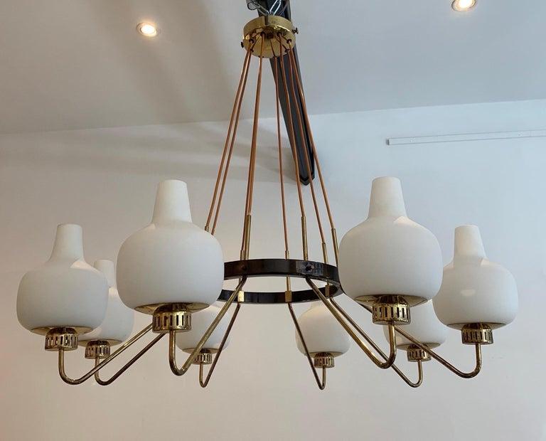 Italian Stilnovo Eight-Light Chandelier, 1950s For Sale