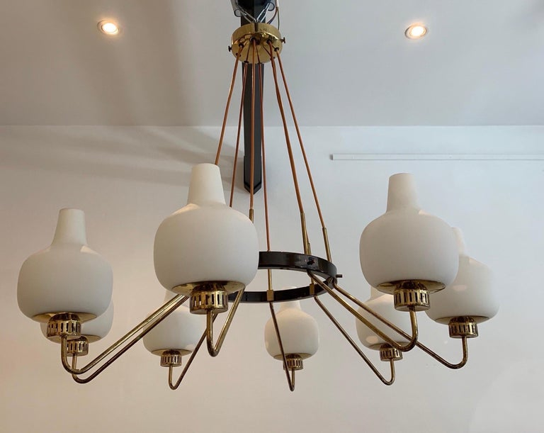 Stilnovo Eight-Light Chandelier, 1950s In Good Condition For Sale In Brussels, BE