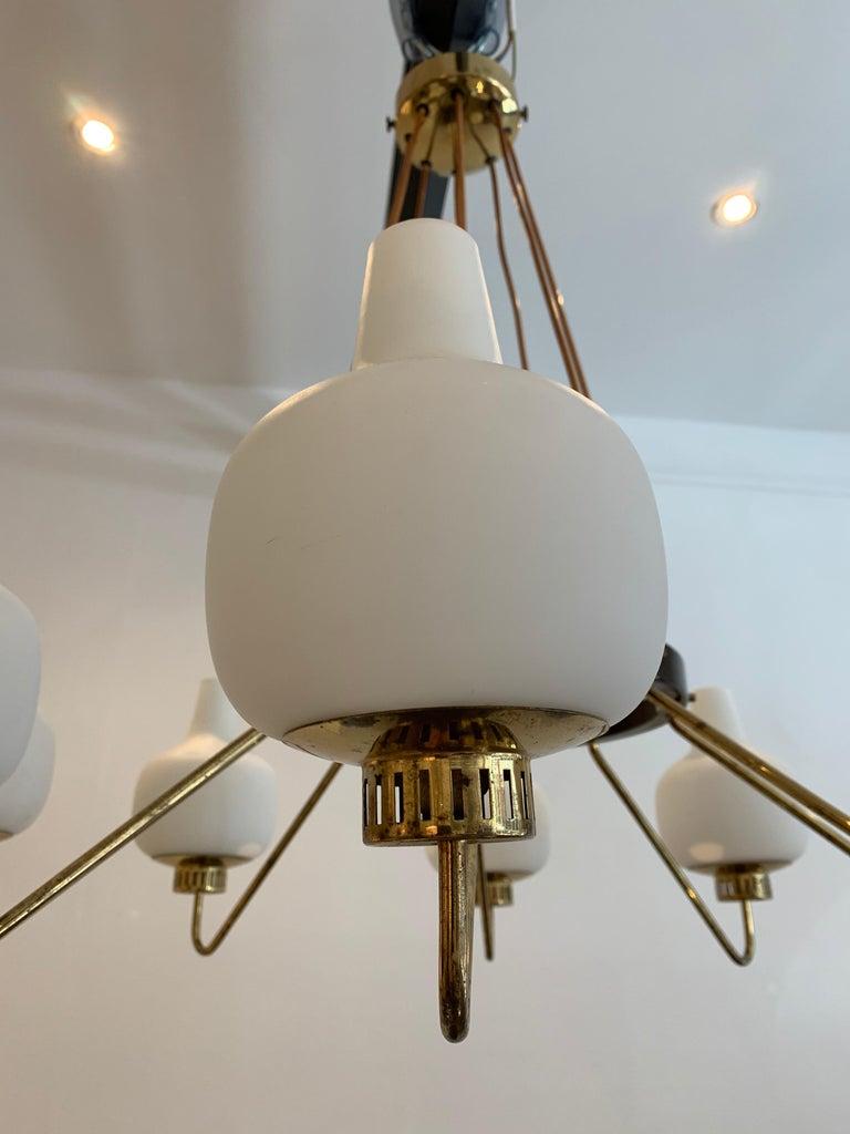 Mid-20th Century Stilnovo Eight-Light Chandelier, 1950s For Sale