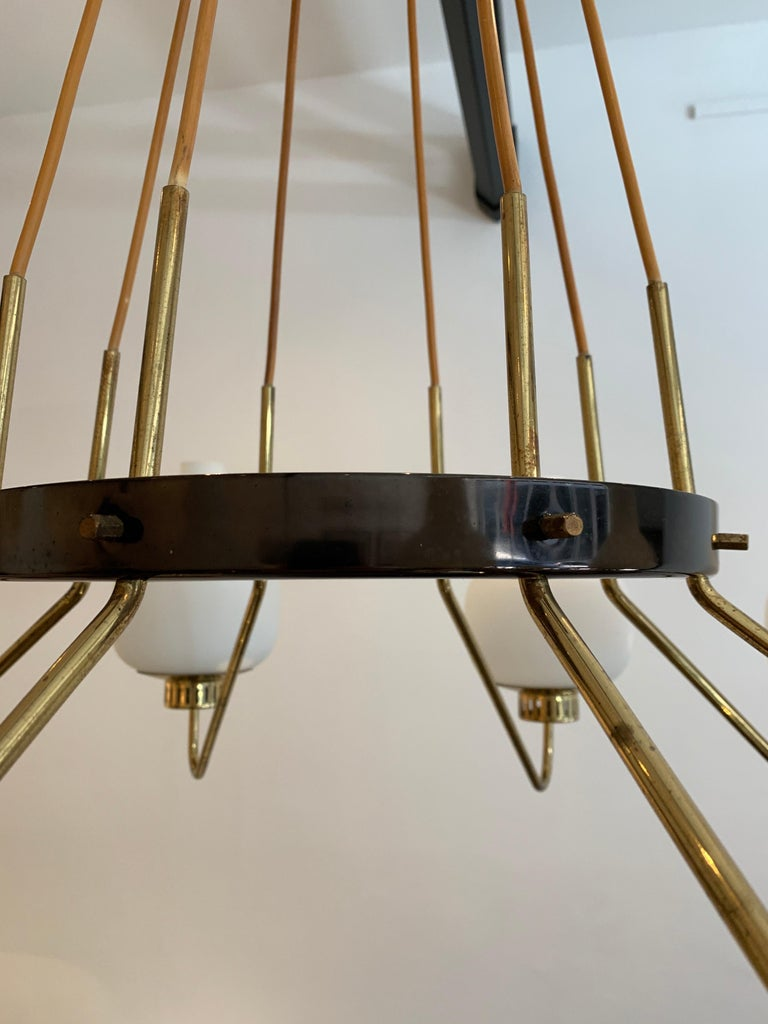 Brass Stilnovo Eight-Light Chandelier, 1950s For Sale