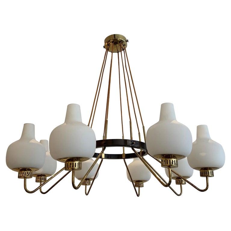 Stilnovo Eight-Light Chandelier, 1950s For Sale