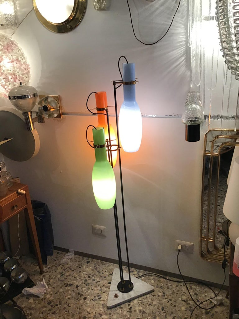 Stilnovo Floor Lamp Cased Glass Brass Iron, 1950, Italy In Excellent Condition For Sale In Milano, IT
