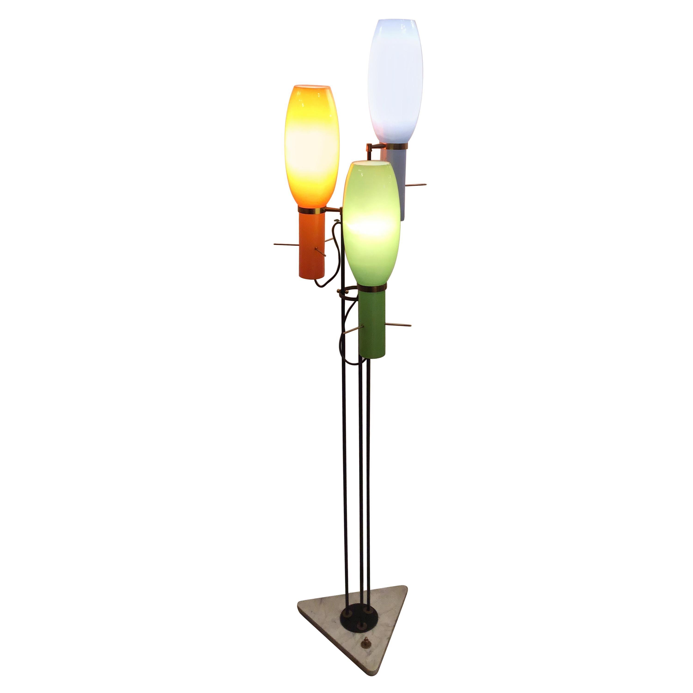 Stilnovo Style Floor Lamp Cased Glass iron brass, 1950, Italy