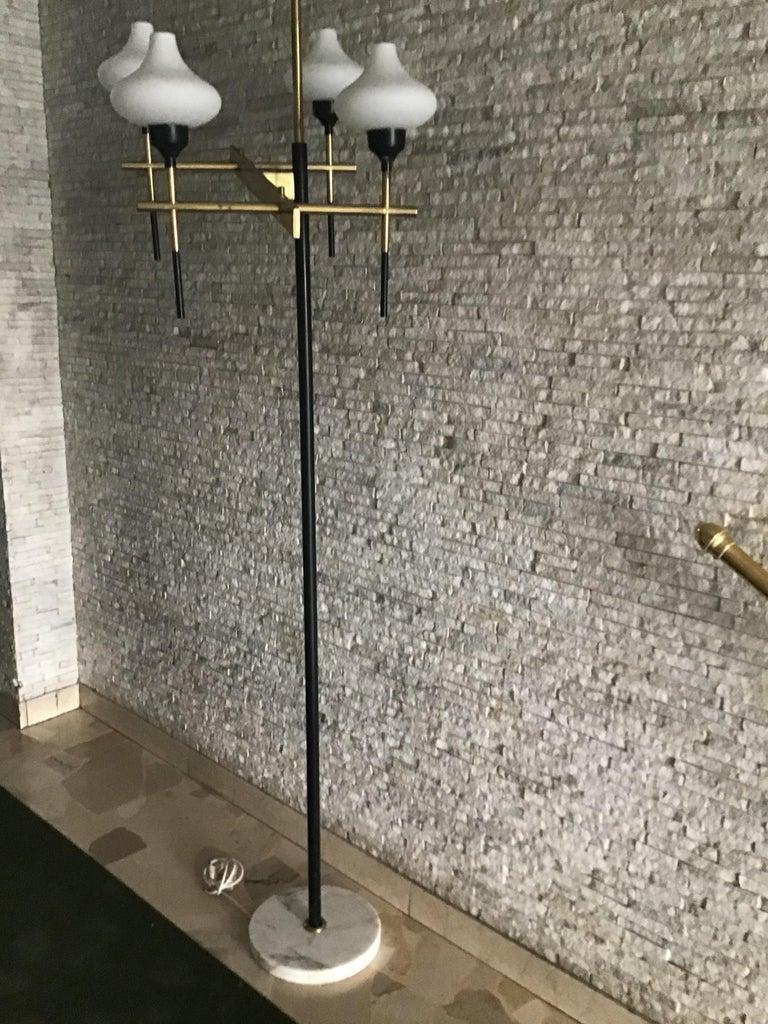 Stilnovo Floor Lamp Four Lights Marble Iron Gl Br 1950 Italy For