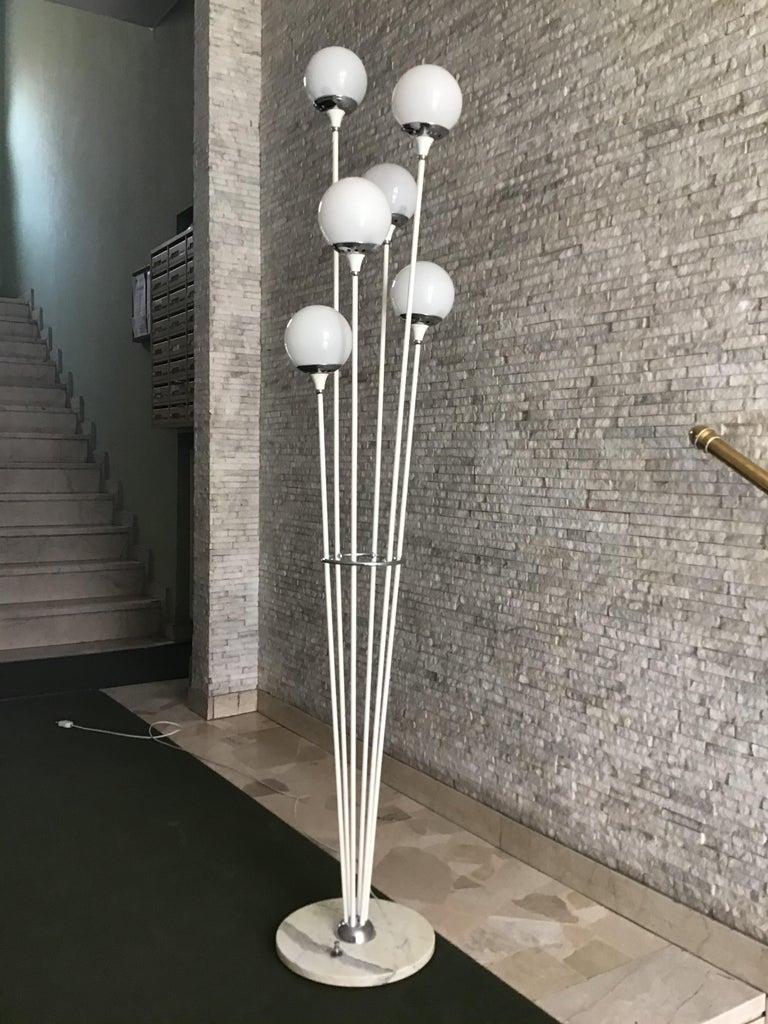 "Stilnovo Style floor lamp glass marble metal, 6 lights, 1950, Italy ""Alberello""."