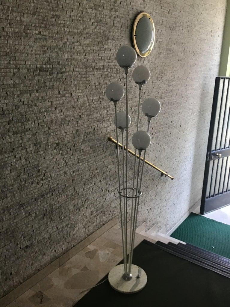 "Italian Stilnovo Style Floor Lamp Glass Marble Metal, 6 Lights, 1950, Italy ""Alberello"" For Sale"