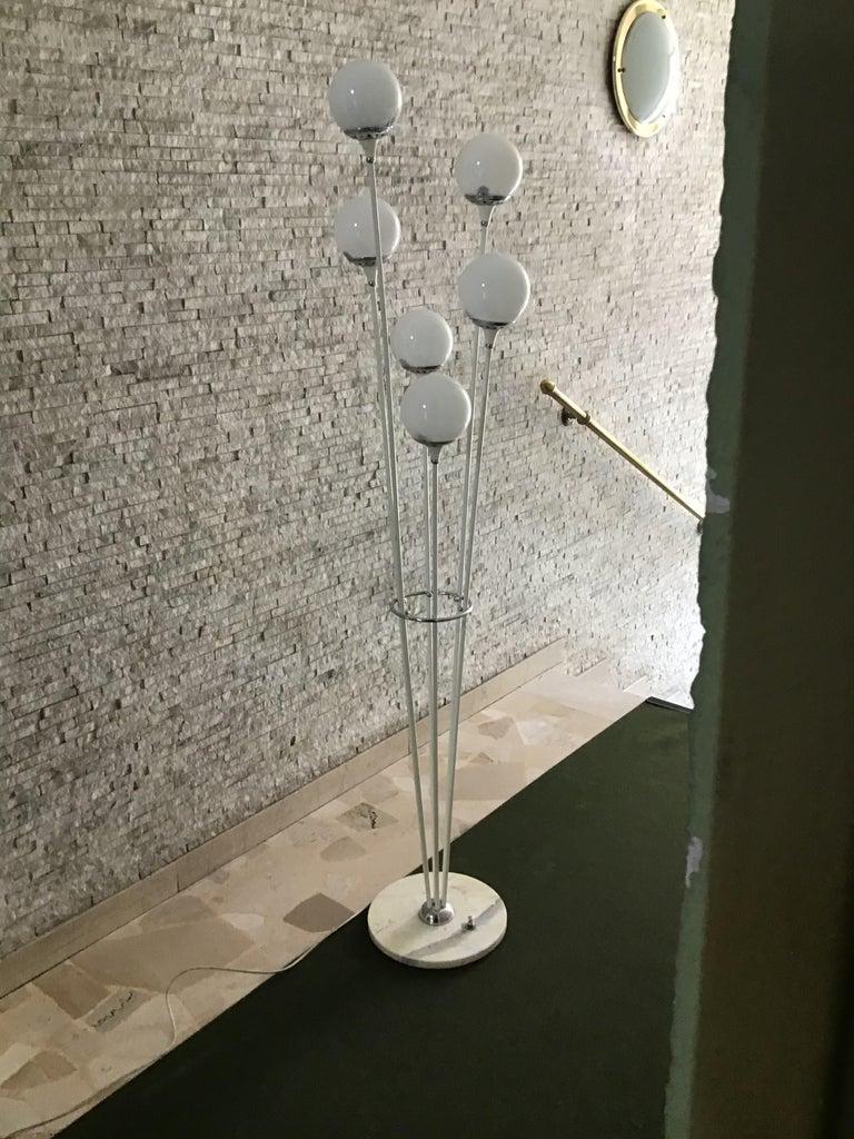 "Mid-20th Century Stilnovo Style Floor Lamp Glass Marble Metal, 6 Lights, 1950, Italy ""Alberello"" For Sale"