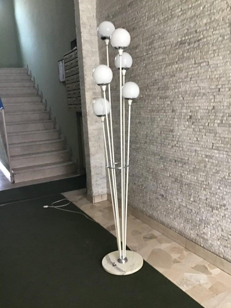 "Stilnovo Style Floor Lamp Glass Marble Metal, 6 Lights, 1950, Italy ""Alberello"" For Sale 1"