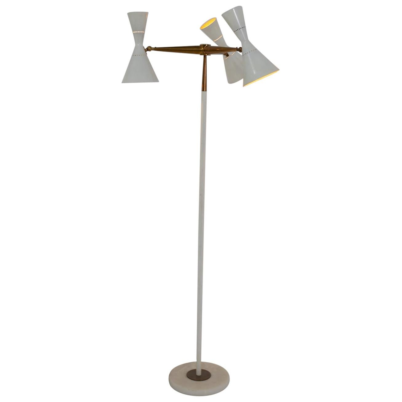 Stilnovo Floor Lamp in Brass and White Aluminium, 1950s