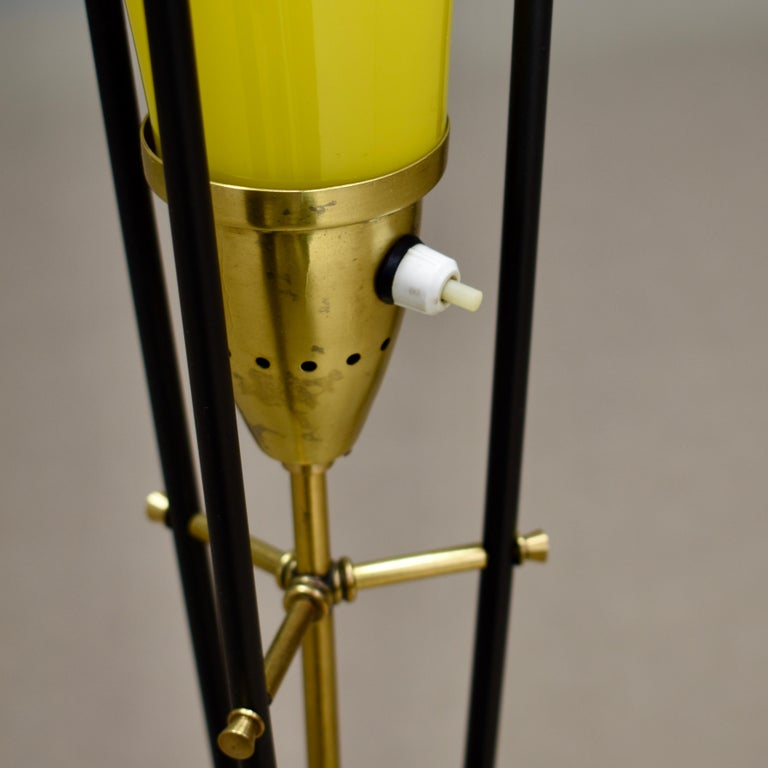 Stilnovo Floor Lamp in Hand Blown Murano Glass and Brass, Italy, circa 1950 For Sale 7
