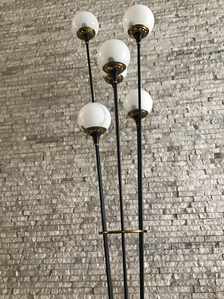 Stilnovo Floor Lamp Iron Brass Marbre Opaline Glass, 1950, Italy  For Sale 4