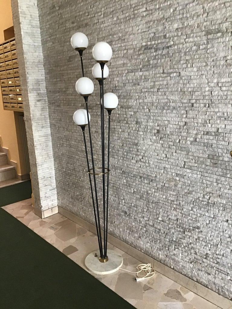 Stilnovo floor lamp iron brass marbre opaline glass, 1950, Italy.