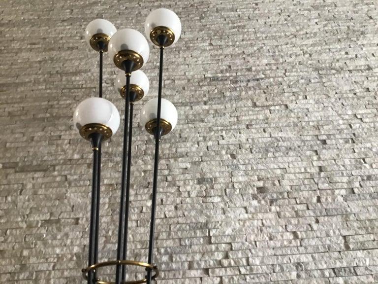 Stilnovo Floor Lamp Iron Brass Marbre Opaline Glass, 1950, Italy  For Sale 1
