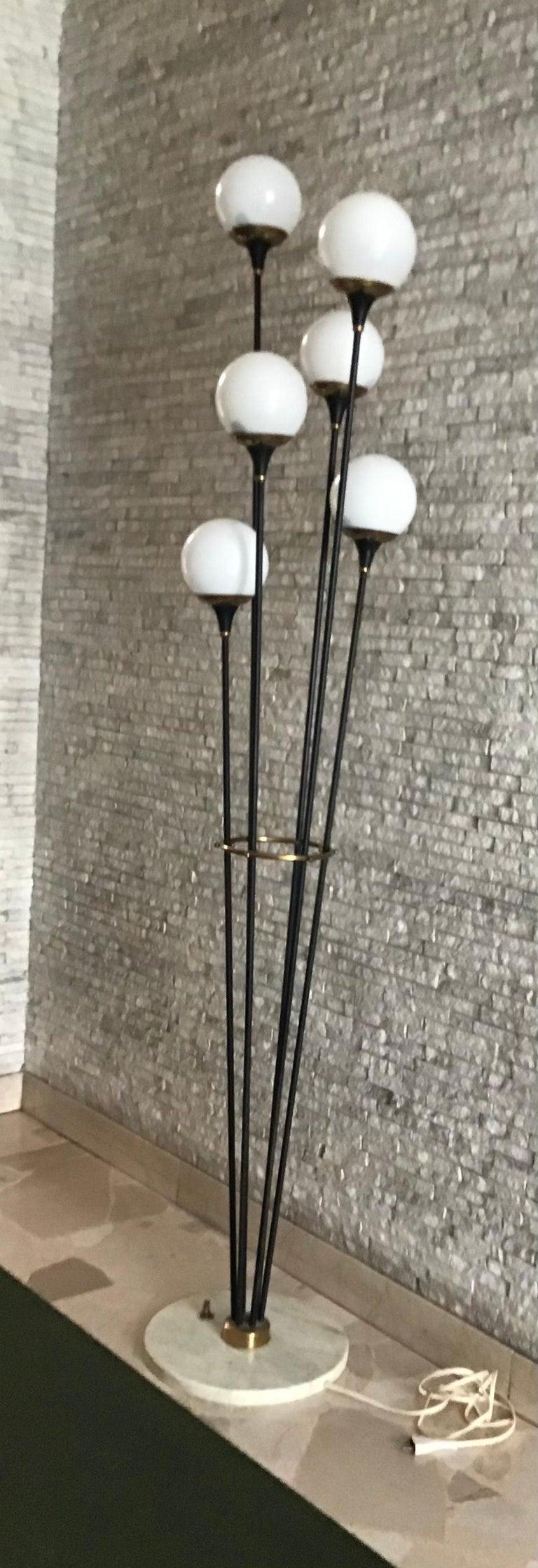 Stilnovo Floor Lamp Iron Brass Marbre Opaline Glass, 1950, Italy  For Sale 2