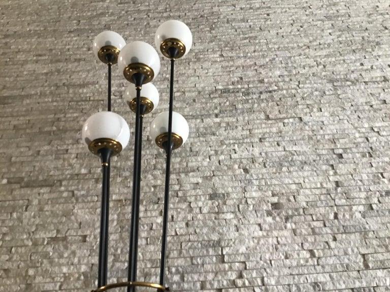 Stilnovo Floor Lamp Iron Brass Marbre Opaline Glass, 1950, Italy  For Sale 3