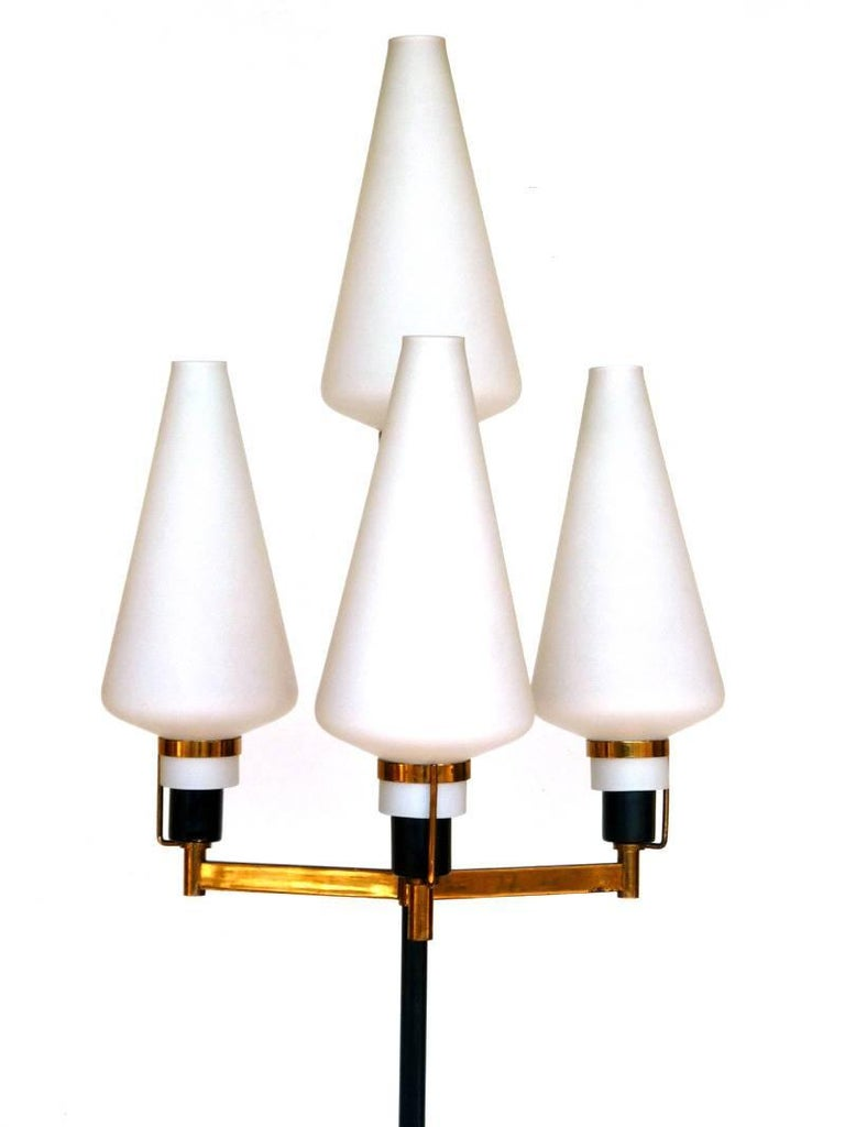 Stilnovo  Italy, 1950s  Floor lamp Brass frame, black metal details and frosted glass shades  Excellent condition Glasses in perfect condition.