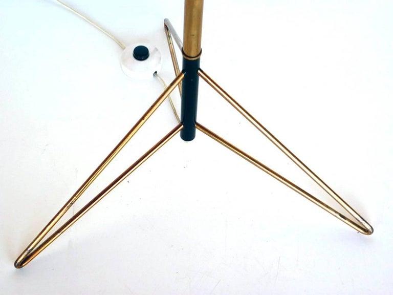 Enameled Stilnovo Floor Lamp Italian Design, Midcentury Italy 1950s, Glass and Brass For Sale
