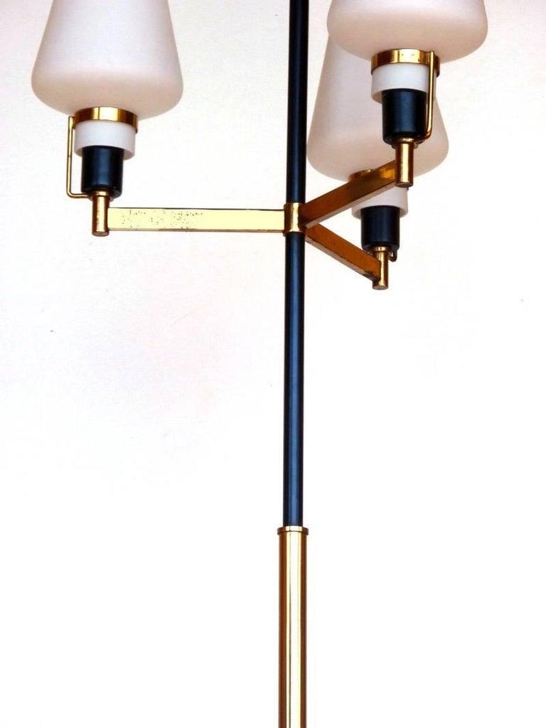 Mid-20th Century Stilnovo Floor Lamp Italian Design, Midcentury Italy 1950s, Glass and Brass For Sale