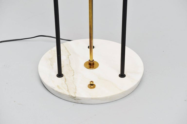 Cold-Painted Stilnovo Floor Lamp Marble and Plexi, Italy, 1960 For Sale
