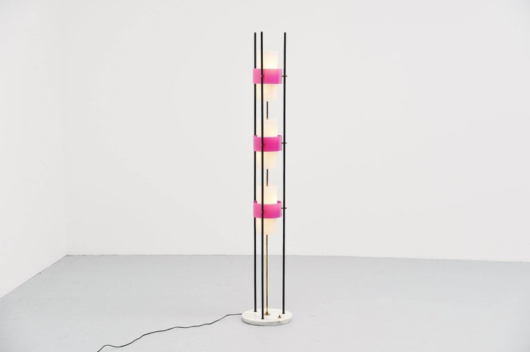 Mid-20th Century Stilnovo Floor Lamp Marble and Plexi, Italy, 1960 For Sale