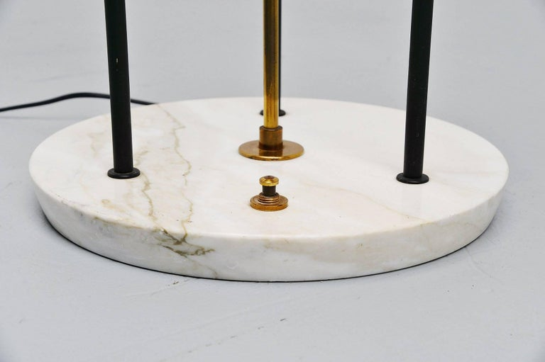 Metal Stilnovo Floor Lamp Marble and Plexi, Italy, 1960 For Sale