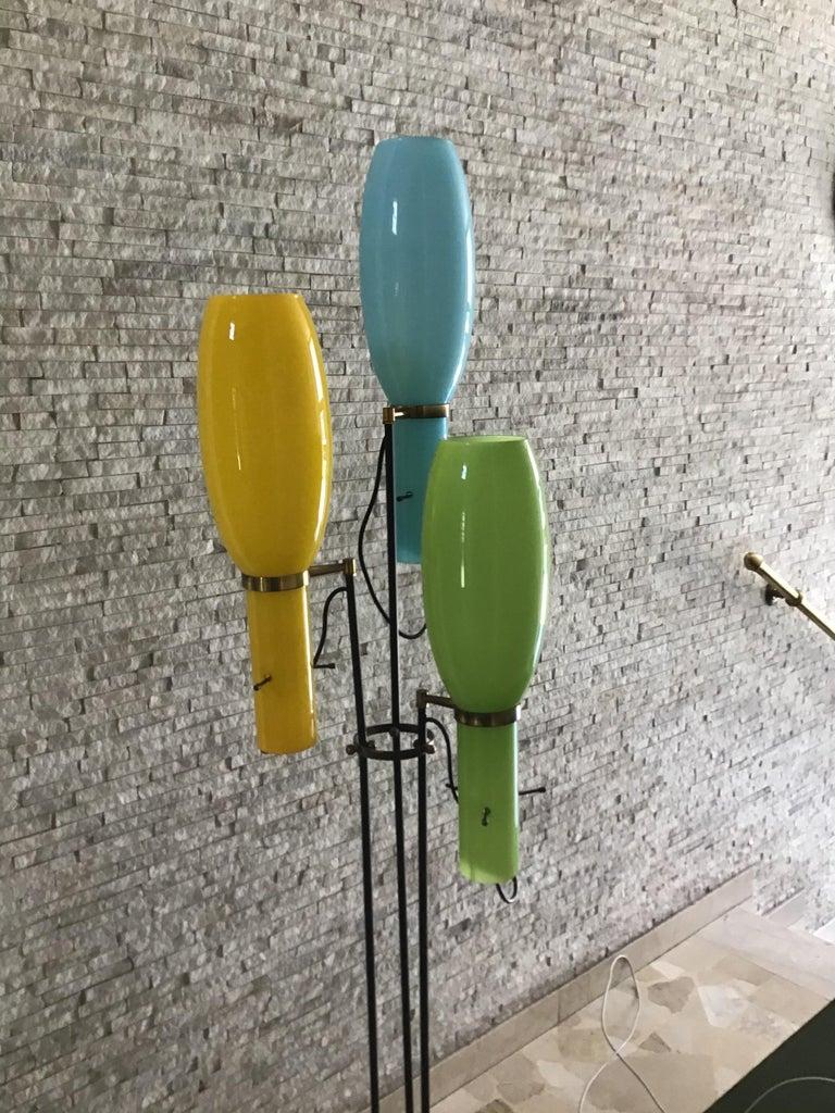 Stilnovo Floor Lamp Marble Brass Iron Glass, 1950, Italy For Sale 4