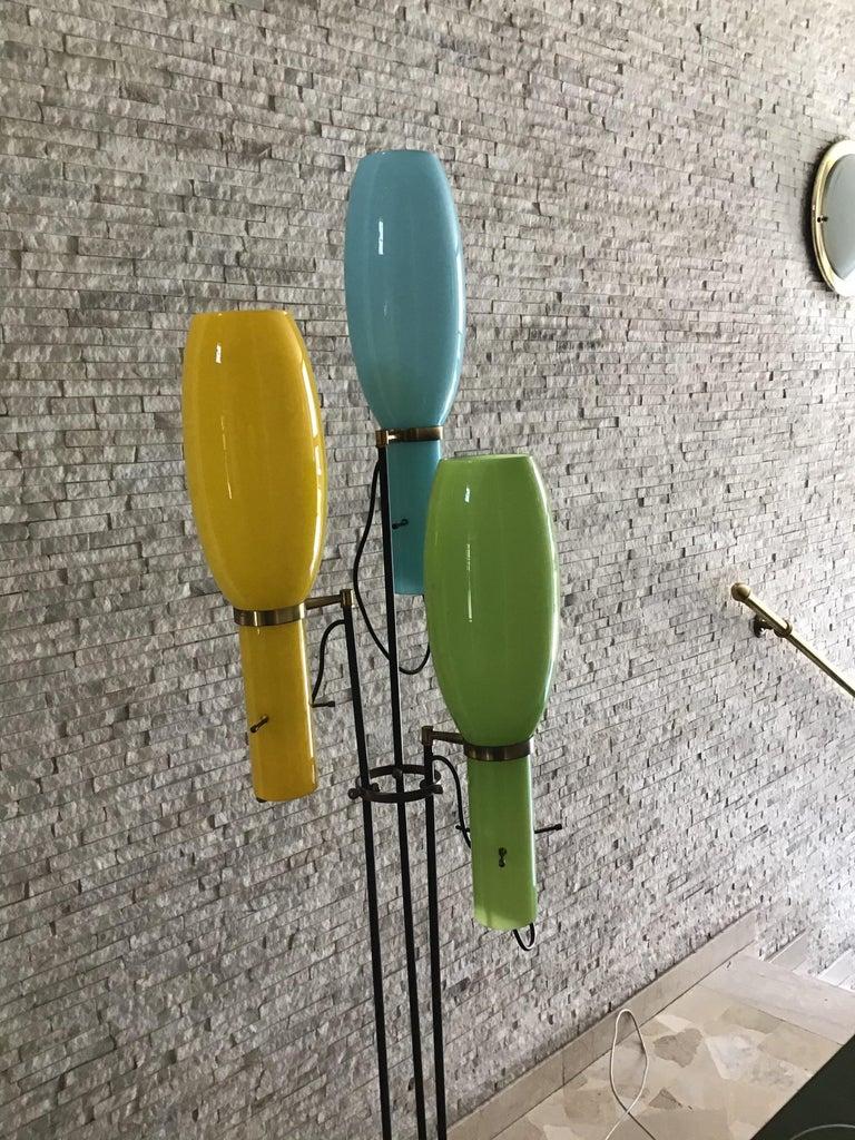 Stilnovo Floor Lamp Marble Brass Iron Glass, 1950, Italy For Sale 1