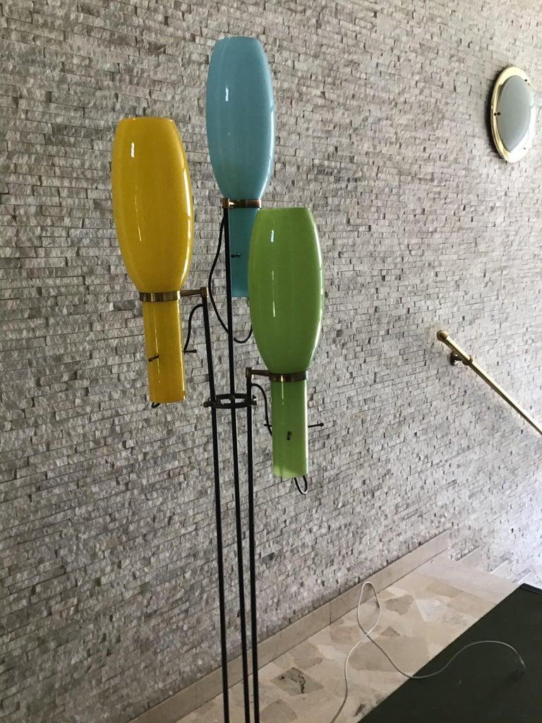 Stilnovo Floor Lamp Marble Brass Iron Glass, 1950, Italy For Sale 2