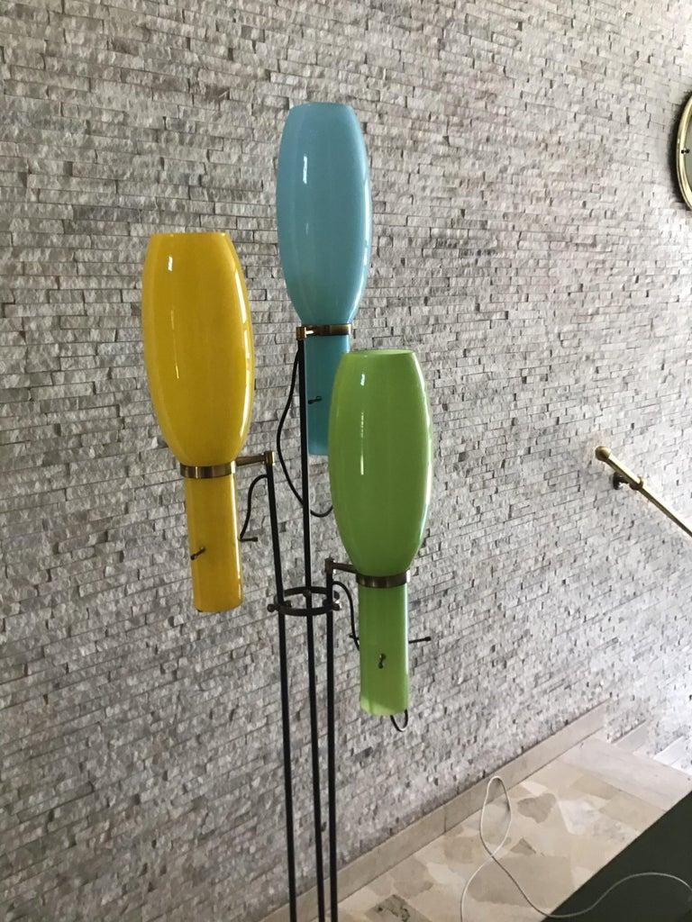 Stilnovo Floor Lamp Marble Brass Iron Glass, 1950, Italy For Sale 3