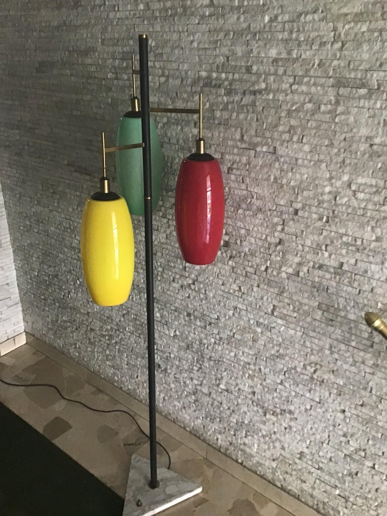 Stilnovo Floor Lamp Marble Iron Brass Glass 1950 Italy Three Lights In Excellent Condition For Sale In Milano, IT