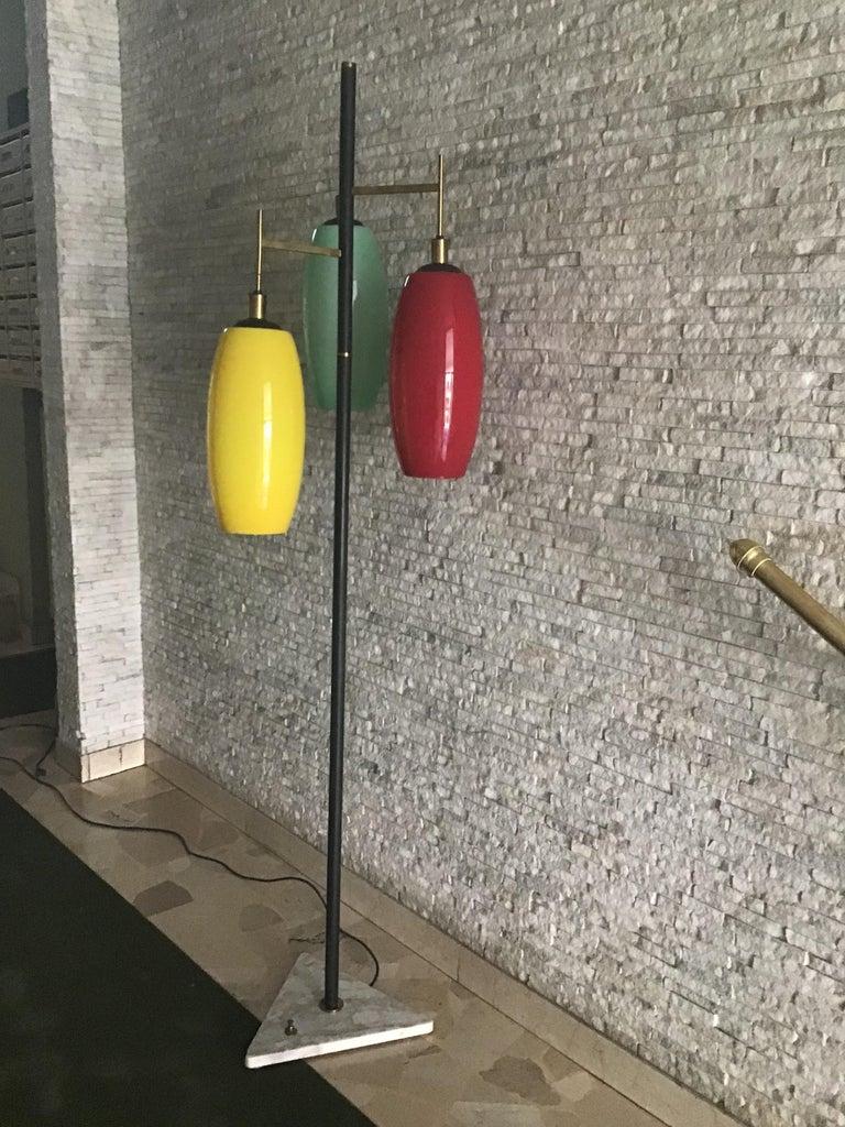 Mid-20th Century Stilnovo Floor Lamp Marble Iron Brass Glass 1950 Italy Three Lights For Sale