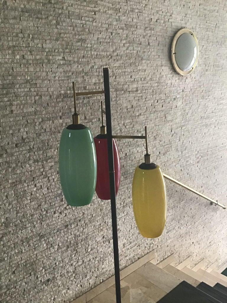 Stilnovo Floor Lamp Marble Iron Brass Glass 1950 Italy Three Lights For Sale 2