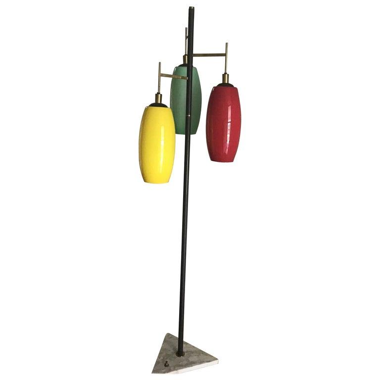 Stilnovo Floor Lamp Marble Iron Brass Glass 1950 Italy Three Lights For Sale