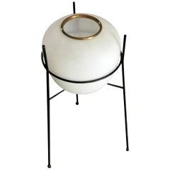 Stilnovo Floor Lamp Opaline Glass Iron Brass, 1962, Italy