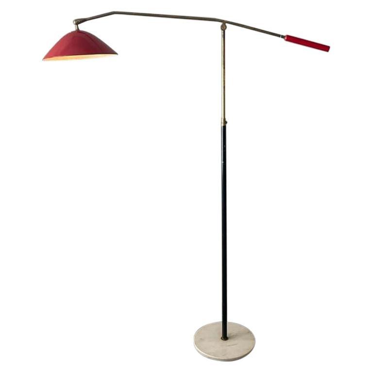 Stilnovo Floor Lamp Red Lacquered Aluminum Marble Base Brass, Italy, 1950