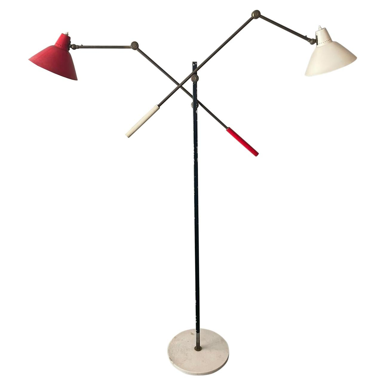 Stilnovo Floor Lamp White and Red Metal Lampshades Brass Marble, Italy, 1955
