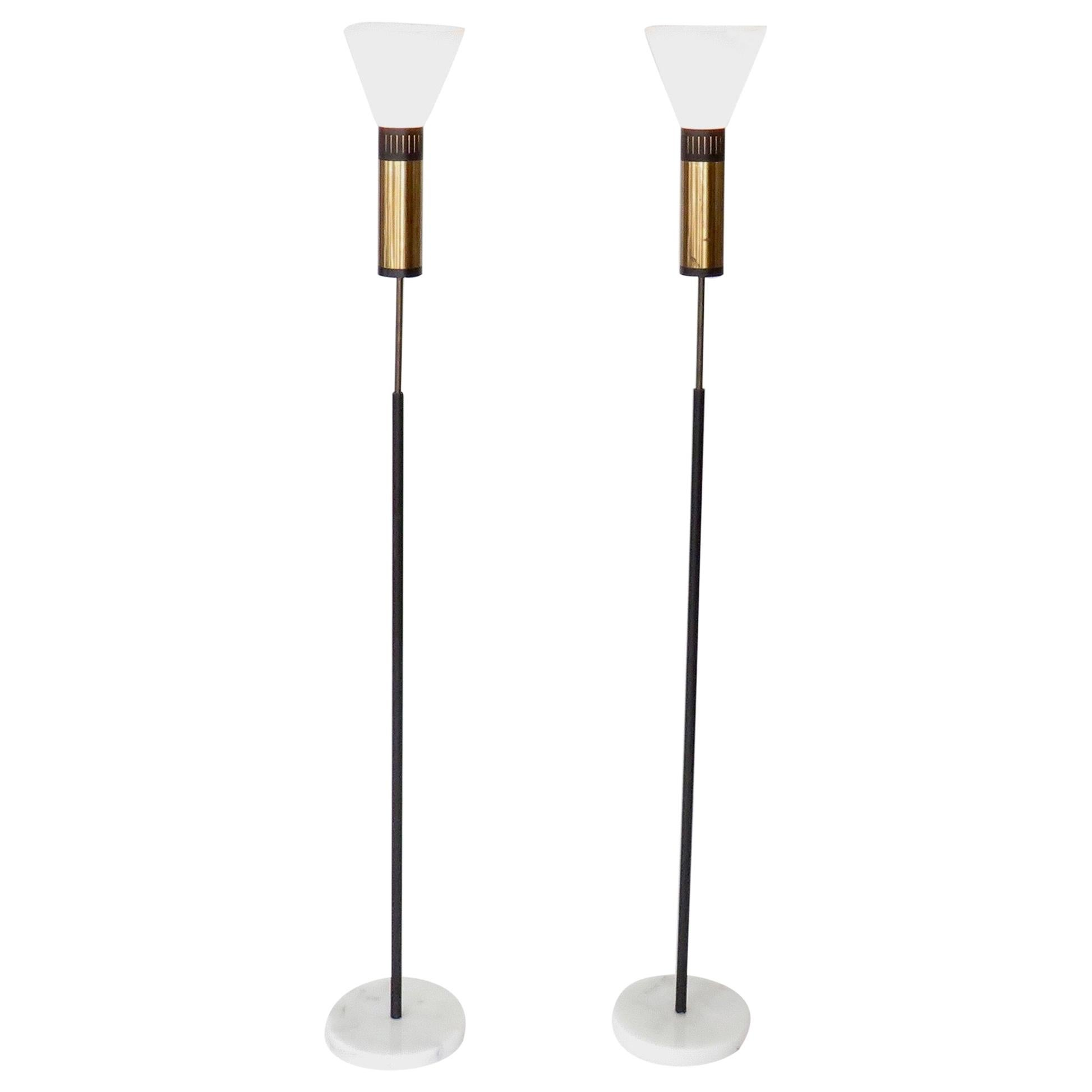 Stilnovo Floor Lamps Glass Diffusers Marble Base Tall Black Enameled Stem Pair