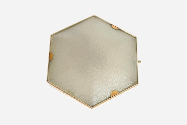 Stilnovo flush mount ceiling light model 1183. Made in Italy in 1950s. Textured glass, brass, enameled metal. Stamped