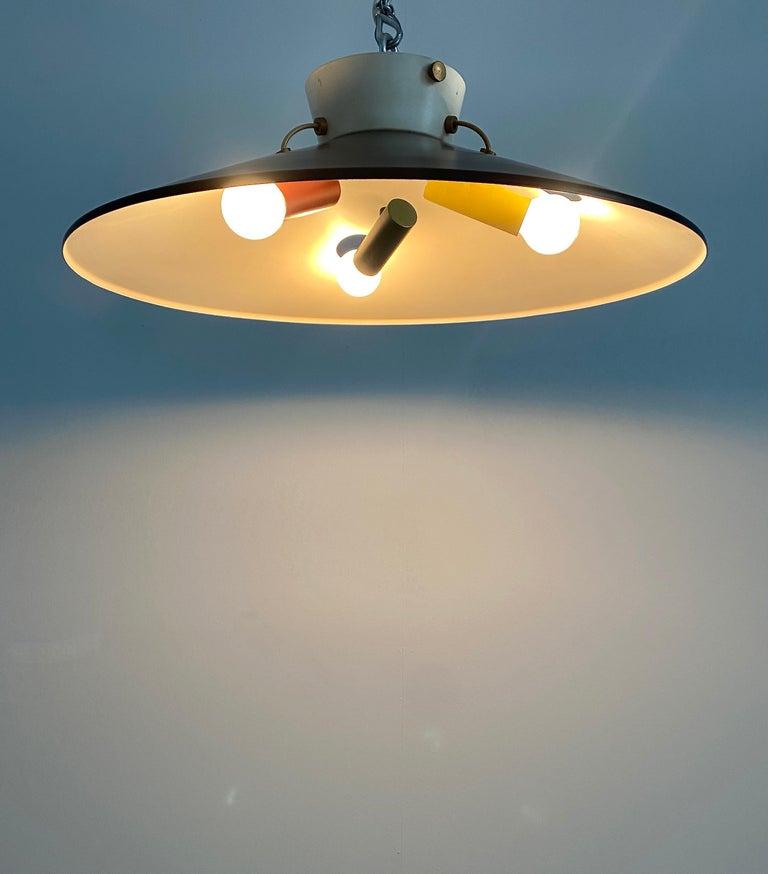 Mid-Century Modern Stilnovo Flush Mount Ceiling Lights circa 1950 For Sale