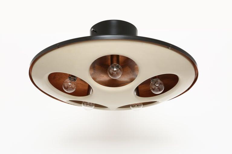 Stilnovo flush mount ceiling light model 1243. Italy 1960s. Stilnovo label. Made of copper and enameled metal. Five candelabra sockets. Rewired for US. Black enamel restored.