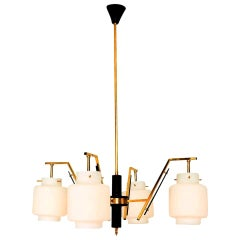 Stilnovo Four Arm Brass Chandelier with Opaline Glass, Italy, 1950s