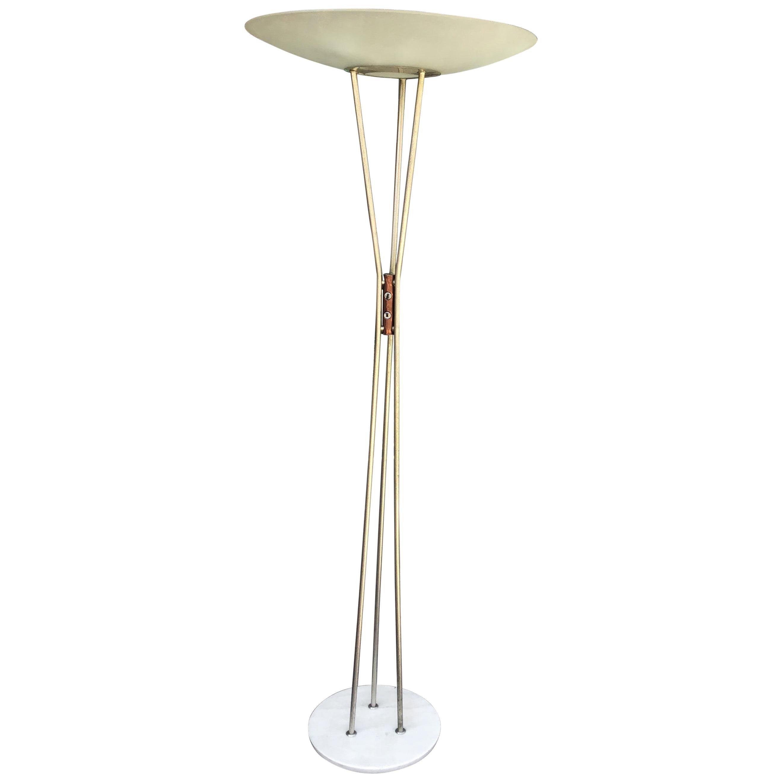 Stilnovo 'Gaetano Sciolari' Floor Lamp, Model 4075, Marble Base and Brass