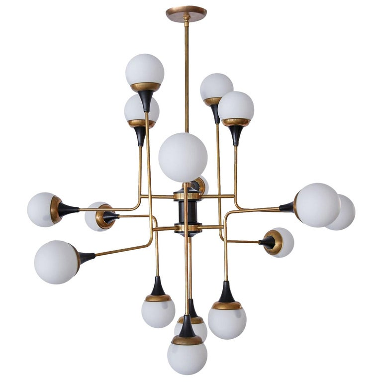 Geometric Chandelier, style of Stilnovo, circa 2010 For Sale
