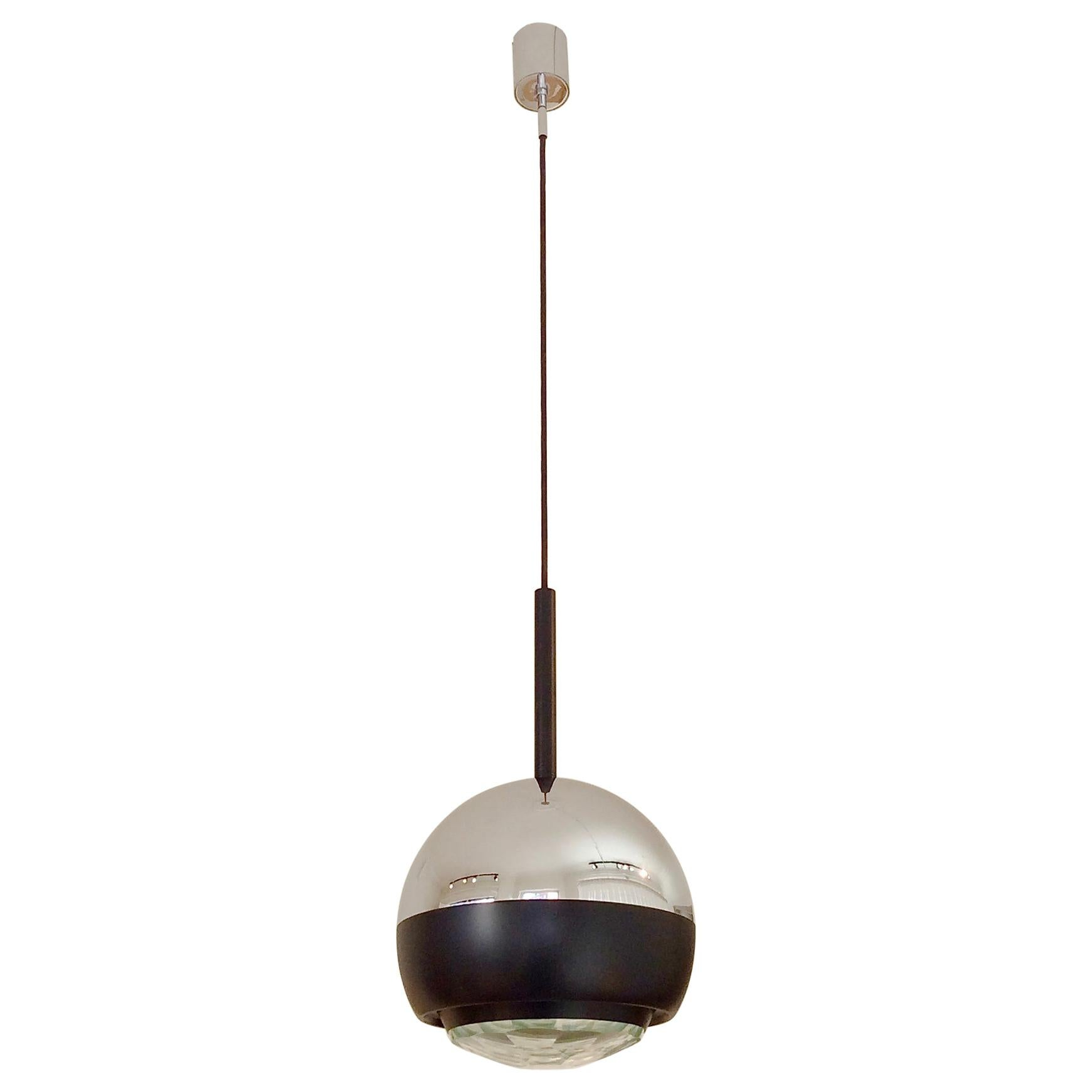 Stilnovo Glass and Metal Pendant Lamp Mod.1230, circa 1960, Italy