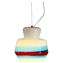 Stilnovo Glass Multi-Color Italian Midcentury Pendant Lamp, 1950s